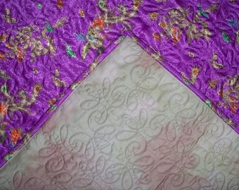 Quilt Textile Asian Purple Silk Throw with Dragons Hand Dyed Back