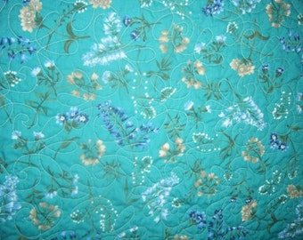 Quilt Turquoise Flowers Stunning Contemporary Queen