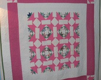 Quilt Bubblegum Pink Contemporary Primitive Textile Art