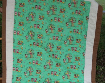 Quilt Mid Century Teddy Bears Picnic With Aussie Brown Art Throw Mint & Brown