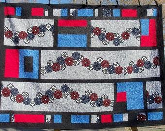 Quilt Japanese Indigo Mums Mid Century Art Textile Custom Quilting Contemporary Primitive Futon Sized Focal Object by artdesignsbydanielle