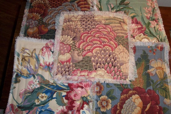 Quilted Triviets Decorator Florals Broadcloth Utility Organic Textile 5 Piece Set