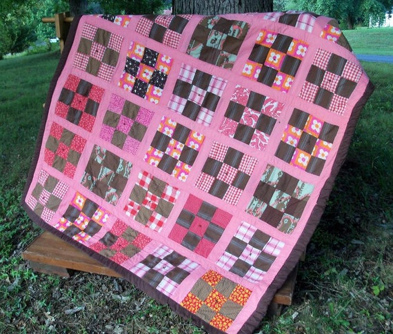 Quilt Pink & Brown 9 Patch Contemporary Primitive