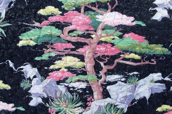Quilt Asian Motif Art Textile Dramatic Mid Century Bark Cloth Tree Scene Wall Hanging Black Pink Green FIND