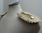 Ecofriendly khaki pleated epaulettes with golden buttons - OOAK