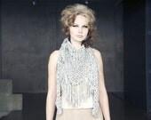 Chunky cotton triangle fringe scarf - Light grey