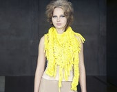 Chunky cotton triangle fringe scarf - Bright Yellow