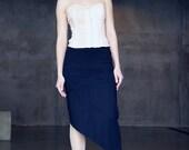 Black ecocotton jersey midi skirt with asymmetrical hem and decorative seams