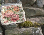 VINTAGE glamour of the moors floral clutch- purse, bag, pouch