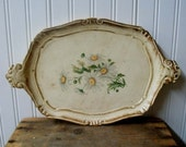 Vintage Wooden Tray Cottage White Daisy Tray