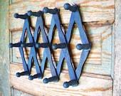 Vintage Accordion Wood Wall 13 Peg Rack Blue