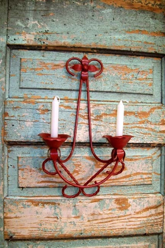 Vintage Candle Sconce Pair Upcycled Farmhouse by VintageInColour