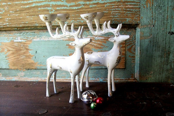 Upcycled Christmas Chippy White Reindeer by VintageInColour