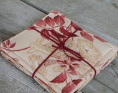 Set of 4 coasters made of linen and cotton /handmade