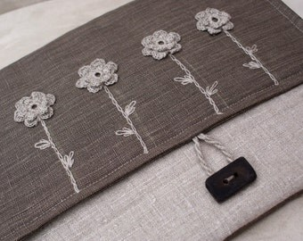 Laptop sleeve for 13inch macbooks/linen/sewing, crochet and embroidery/
