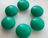 Sea green color Bonbon Shape round puff Beads - Beading supplies - vintage lucite great color beads