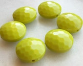 Chartreuse color coin Shape textured Beads - Beading supplies - vintage lucite great color beads