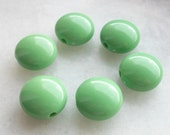 Green color Bonbon Shape round puff Beads - Beading supplies - vintage lucite great color beads