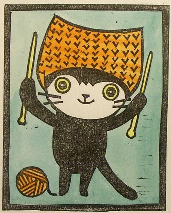Hand pulled linocut - Craft Cat