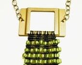 beaded brass buckle necklace
