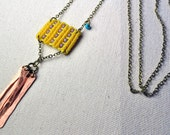 Yellow Circuit Necklace with Copper Fringe