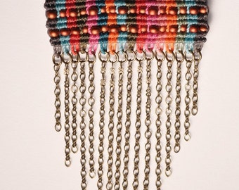 Beaded Multicolor Circuit Rectangle with dangling chain