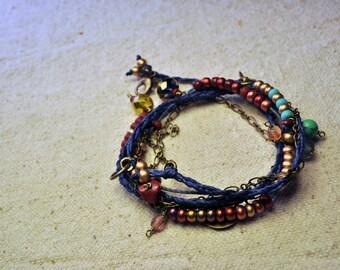 Bohemian Wrap Bracelet and Necklace