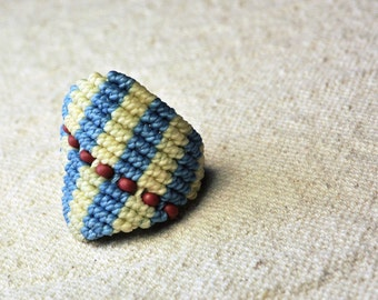 Beaded Macrame Ring Blue and White