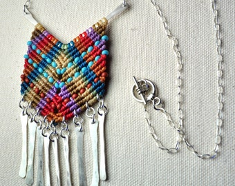 Sterling Silver Chevron Necklace with Silver Tassels
