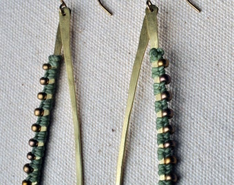 Teardrop Hoops Sage and Brass