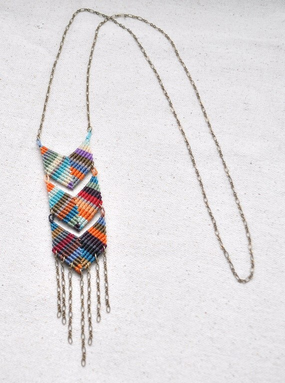 Triple Chevron Necklace - multicolor fade