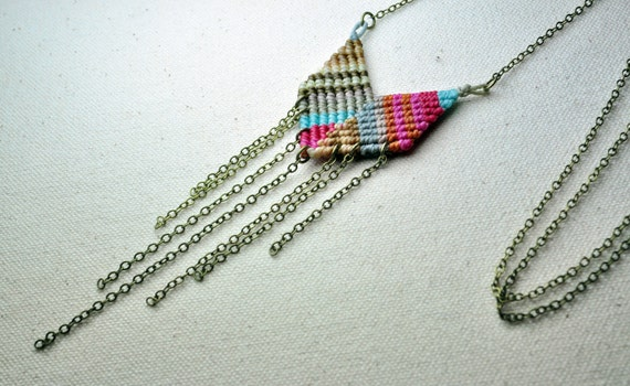 Single Chevron Necklace in Pink and Neutrals