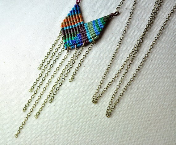 Single Chevron Necklace in Deep Greens and Blues