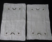 Vintage Cutwork, Hand-stitched Lace and Embroidered Scarfs, Set of 2
