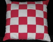 Vintage Pink and White Double Knit Patchwork Pillow