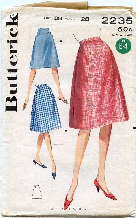 Butterick 2235 Waist 28 Hip 38 Misses' Flared Skirt