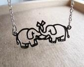 Silver Elephant Love Necklace - Standard Length - Trunk Love