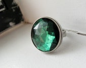 Emerald Green Cocktail Ring - Adjustable Silver Band - Wicked