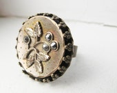 Pyrite Flower Cocktail Ring - Adjustable Antique Brass Band - Only One