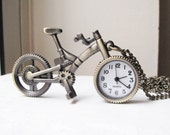 Bicycle Clock Necklace - Extra Long - Antique Brass - Let's Ride Bikes