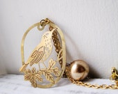 Gold Bird Bead Pendant Necklace - Long Length - Berry Bird