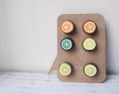 3 Pairs Fruit Post Earrings - Light weight - Citrus Punch