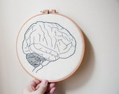 Human Brain: Anatomy Hand Embroidered Hoop Art - One Of A Kind