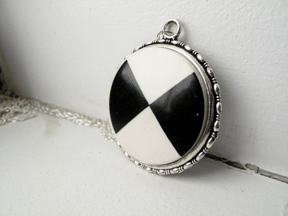 Black White Triangle Button Necklace - Silver Extra Long Length - Last One