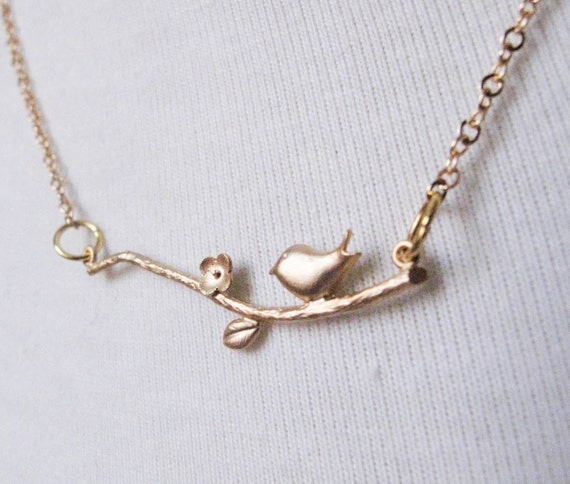 Branch with Bird 14k Gold Necklace - Standard Length - Sweet Song