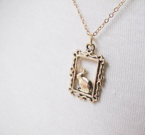 Gold Bunny Frame Necklace - Short Length - I Framed Roger Rabbit