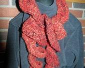 Crocheted Ruffle Scarf Warm Dark Red / Black Very Soft