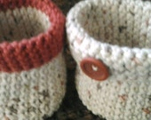 Crocheted Basket(S) (set of two matching) organizers, container, caddy