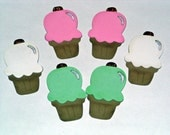 Scrapbook or Card Embelishments Ice Cream Cones  (set of 6) FREE SHIPPING