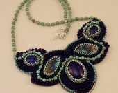 Denium Dream Lapis and Azurite Bead Embroidered Necklace